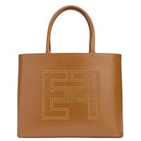 Сумка-тоут Elisabetta Franchi коричневого цвета с логотипом, фото