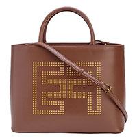 Коричневая сумка Elisabetta Franchi с большим логотипом, фото