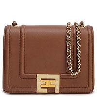 Коричневая сумка Elisabetta Franchi на золотистой цепочке, фото