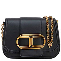 Черная сумка-седло Elisabetta Franchi с большим лого, фото