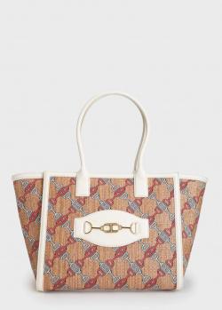 Сумка-шоппер Elisabetta Franchi с золотистым брендовым логотипом, фото