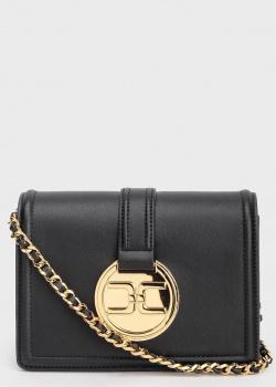 Черный клатч Elisabetta Franchi с брендовым декором, фото