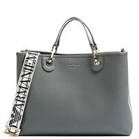 Серая сумка Emporio Armani с широким брендированым ремнем, фото