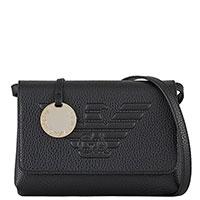 Черная сумка Emporio Armani с большим логотипом бренда, фото