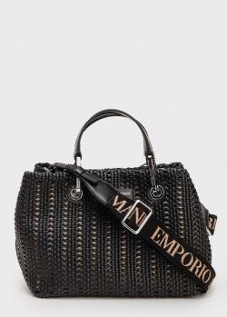 Черная плетеная сумка Emporio Armani с логотипом на ремне, фото
