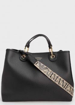 Черная сумка-тоут Emporio Armani с бежевым ремнем, фото