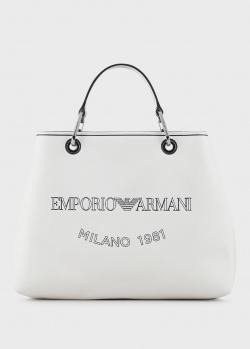 Сумка-тоут Emporio Armani белого цвета, фото