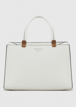 Белая сумка-тоут Emporio Armani с плечевым ремнем, фото