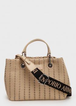 Плетеная сумка Emporio Armani на широком ремне, фото