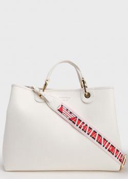 Белая сумка-тоут Emporio Armani с красным ремнем, фото