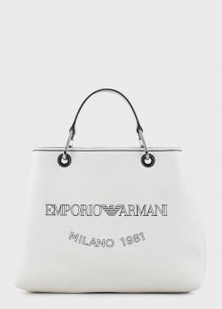 Белая сумка Emporio Armani с фирменным принтом, фото