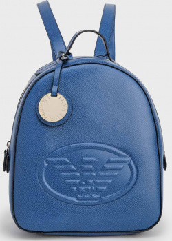 Синий женский рюкзак Emporio Armani с логотипом, фото