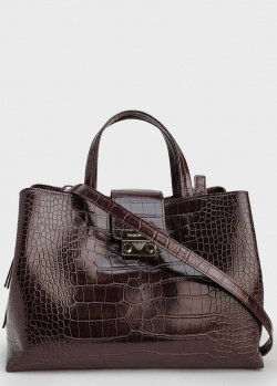Коричневая сумка Emporio Armani с принтом под рептилию, фото