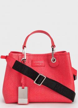 Женская красная сумка Emporio Armani с черным текстильным ремнем, фото