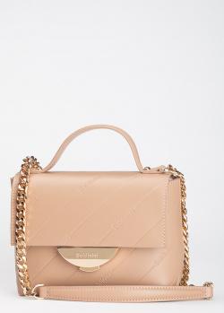 Бежевая сумка Baldinini Miriam из гладкой кожи с фирменным тиснением, фото