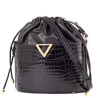 Черная сумка-мешок Greymer с тиснением кроко, фото