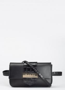 Поясная сумка Baldinini Lea из гладкой кожи с фактурной вставкой, фото