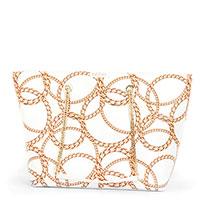 Белая сумка-шоппер Baldinini Taylor с принтом-цепями, фото