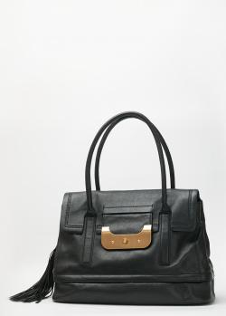 Черная сумка DVF с декором-кисточкой, фото