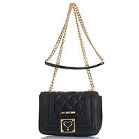 Черная стеганая сумка Love Moschino с декоративной строчкой, фото