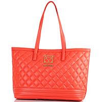 Стеганная красная сумка-шоппер Love Moschino, фото