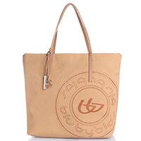 Бежевая сумка-шопер Byblos Blu с фирменным принтом, фото