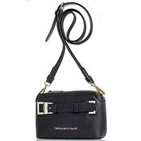 Черная сумка Trussardi Jeans прямоугольной формы с декоративным ремешком, фото