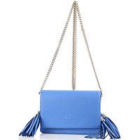 Синий кожаный клатч Elisabetta Franchi с кистями, фото