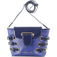 Синяя сумка Versace Jeans с лаковыми клапаном и ремешками, фото