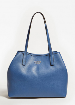 Синяя сумка Guess Vikky с леопардовым рисунком внутри, фото