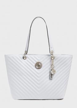 Белая сумка-тоут Guess Kamryn с брелком, фото