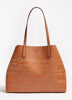 Коричневая сумка-шоппер Guess Vikky с надписями, фото