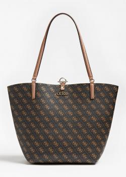 Двухцветная сумка-тоут Guess Alby с косметичкой, фото