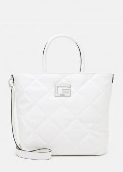 Белая сумка-тоут Guess Brightside на широком ремне, фото