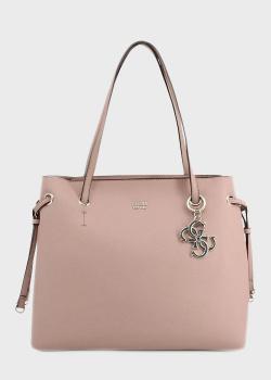 Розовая сумка-тоут Guess Digital с брелком, фото