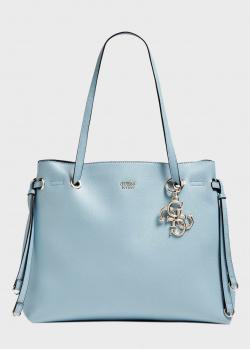 Голубая сумка-тоут Guess Digital с брелком, фото