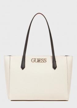 Белая сумка-тоут Guess Uptown Chic с черными ручками, фото