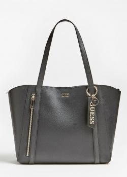 Черная сумка-тоут Guess Naya с брелком, фото