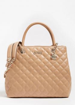 Стеганая сумка-тоут Guess Illy бежевого цвета, фото