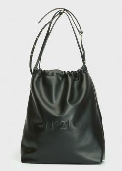 Кожаная сумка-мешок N21 Eva Hobo черного цвета, фото