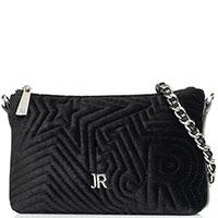Вельветовая сумка-клатч John Richmond Star черного цвета, фото