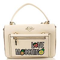 Белая сумка Love Moschino с металлической шильдой, фото