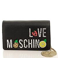 Черный клатч Love Moschino с брендовой аппликацией, фото