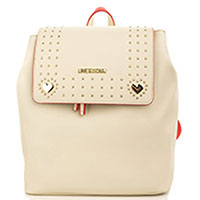 Бежевый рюкзак Love Moschino с металлическим декором, фото