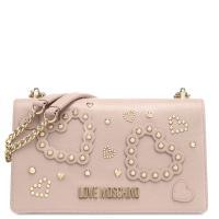 Розовая сумка Love Moschino с декором-заклепками, фото