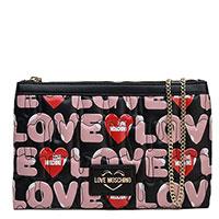 Черный клатч Love Moschino с ярким принтом, фото