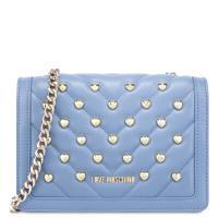 Голубая сумка Love Moschino с декором в виде сердец, фото