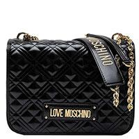 Черная лаковая сумка Love Moschino на плечо, фото