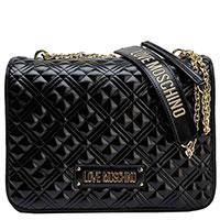 Лаковая женская сумка Love Moschino со строчками, фото