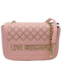 Розовая сумка Love Moschino с золотистой фурнитурой, фото